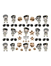 Lovely Multicolor Cartoon Soldier Pattern Design Dots Descendants Of The Sun Paper Nails
