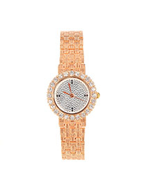 Fashion Champagne+silver Color Diamond Decorated Round Case Design  Alloy Ladies Watches