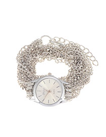 Exaggerate Silver Color Multilayers Chain Decorated Round Case Design  Alloy Ladies Watches
