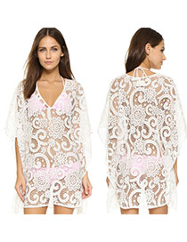 Sexy White Flower Pattern Decorated Hollow Out Sleeve Design Bikini Cover Up Smock Lace Beach Dresses