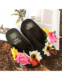 Trendy Black Flower&butterfly Decorated Wedge Design Beach Shoes Pvc Slippers