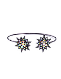 Fashion Gun Black Double Stars Decorated Opening Design Alloy Fashion Bangles