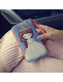 Fashion Blue Cartoon Girl Pattern Decorated Square Shape Design Pu Wallet