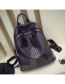 Fashion Black Rivet Decorated Pure Color Design