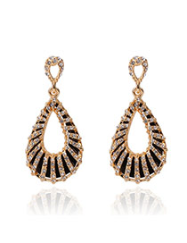 Exaggerate Gold Color Diamond Decorated Water Drop Shape Design Alloy Stud Earrings