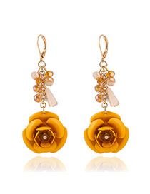 Fashion Yellow Flower Shape Pendant Decorated Simple Design Alloy Korean Earrings