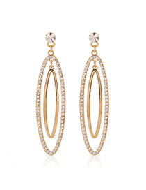 Fashion Gold Color Diamond Decorated Double Layers Oval Shape Design Alloy Stud Earrings
