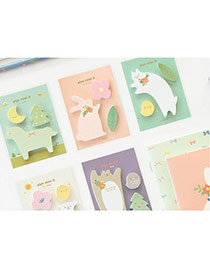 Sweet Random Color Animals Pattern Simple Design Paper Stickers Tape Paper Scratch Pad Sticky
