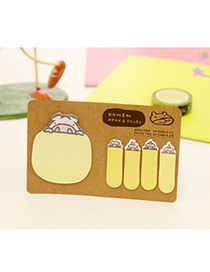 Lovely Yellow Cartoon Pattern Simple Design Paper Stickers Tape Paper Scratch Pad Sticky
