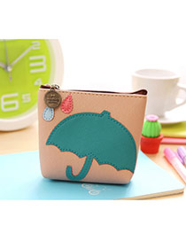 Lovely Multi-color Umbrella Pattern Decorated Simple Design Leather Wallet
