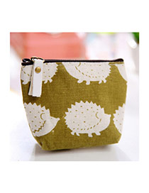 Sweet Green+white Hedgehog Pattern Decorated Simple Design Fabric Wallet