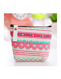 Sweet Multi-color Flower Pattern Decorated Simple Design Fabric Wallet