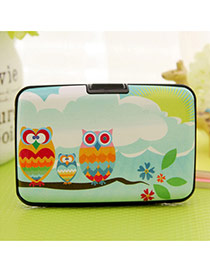 Lovely Blue Owl Pattern Decorated Square Shape Design