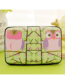 Lovely Green Owl Pattern Decorated Square Shape Design Plastic Household goods