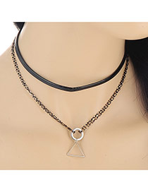 Fashion Silver Color Triangle&round Pendant Decorated Double Layer Design