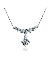 Fashion Silver Color Crystal Pendant Decorated Flower Shape Design Alloy Bib Necklaces