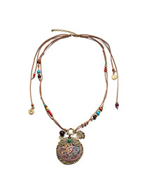 Vintage Coffee Insect Pendant Decorated Double Layer Design Alloy Bib Necklaces
