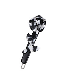 Temperamental Black Flower&leaf Shape Decorated Simple Design Acrylic Hair clip hair claw