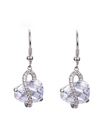 Luxury Silver Color Waterdrop Shape Diamond Decorated Simple Design Alloy Stud Earrings