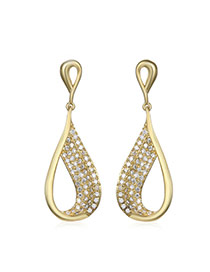 Luxury Gold Color Diamond Decorated Waterdrop Shape Design Alloy Stud Earrings
