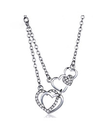Sweet Silver Color Double Heart Shape Pendant Decorated Simple Design Alloy Bib Necklaces