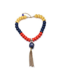 Temperamental Multi-color Beads&tassle Pendant Decorated Simple Design Resin Bib Necklaces