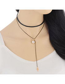 Fashion Gold Color Key&pearl Pendant Decorated Double Layer Design