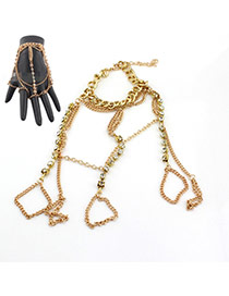 Exaggerate Gold Color Metal Chain Tassel Decorated Simple Design Alloy Korean Fashion Bracelet