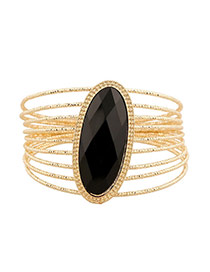 Exaggerate Black Oval Gemstone Decorated Multilayer Design Alloy Fashion Bangles