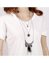 Vintage Black Metal Chain Tassel Pendant Decorated Multilayer Design Alloy Bib Necklaces