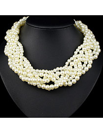 Exaggerate White Mutilayer Twine Decorated Collar Design Pearl Bib Necklaces