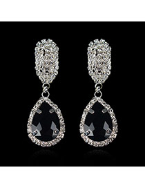 Luxury Black Waterdrop Shape Diamond Decorated Simple Design Cz Diamond Stud Earrings