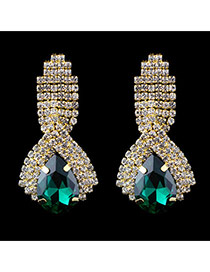 Fashion Green Waterdrop Shape Decorated Full Diamond Design Cz Diamond Stud Earrings