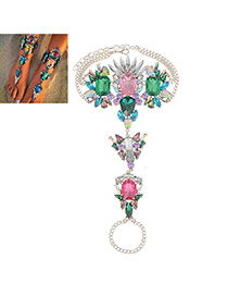 Exaggerate Pink+green Geometric Dimond Decorated Simple Design