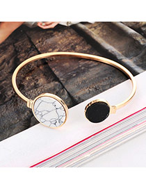 Elegant Gold Color Round Shape Decorated Opening Design Alloy Fashion Bangles