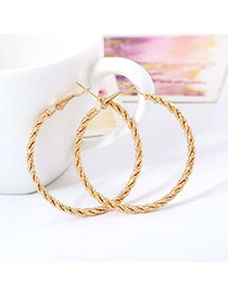 Fashion Gold Color Circle Shape Decorated Simple Design Alloy Korean Earrings