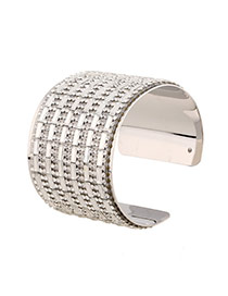 Luxury Silver Color Full Diamond Decorated Opening Design Alloy Fashion Bangles
