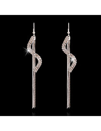 Luxury Silver Color Long Tassel Pendant Decorated S Shape Design Alloy Stud Earrings