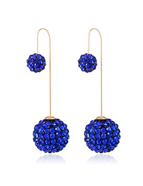 Luxury Blue Full Diamond Decorated Ball Shape Design Cz Diamond Korean Earrings