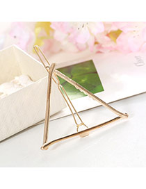 Elegant Gold Color Triangle Shape Decorated Hollow Out Design Alloy Hair clip hair claw