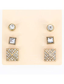 Fashion Gold Color Diamond Decorated Geometric Shape Design