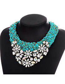 Vintage Blue Diamond&bead Decorated Hollow Out Design Resin Bib Necklaces