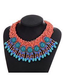 Vintage Pink Bead Pendant Decorated Weaving Design Resin Bib Necklaces