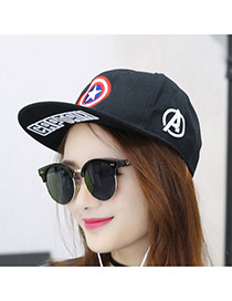 Fashion Black Embroidery Star Pattern Decorated Simple Design Canvas Baseball Caps