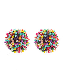 Fashion Multi-color Beads Weaving Decorated Round Shape Design