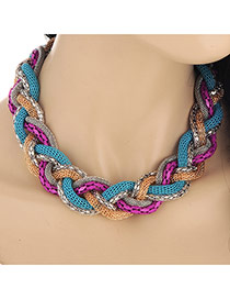 Exaggerated Purple&blue Snake Shape Decorated Short Collar Design Alloy Bib Necklaces