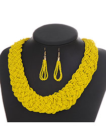 Fashion Yellow Pure Color Decorated Hand-woven Collar Design