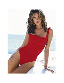 Sexy Red Pure Color Decorated One Piece Design Chinlon Monokini
