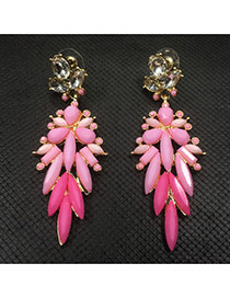 Fashion Pink Flower Decorated Hollow Out Design
