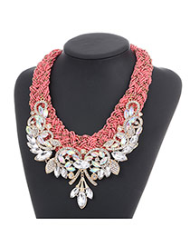 Fashion Pink Diamond Leaf Decorated Hand-woven Collar Design